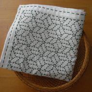 刺し子のふきん(寄木・小/深緑)の画像