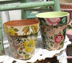 Vintage Wallpaper Decoupaged flower pots