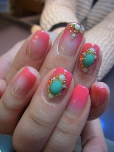 Pink gradient paired with 3D nail decals ♥