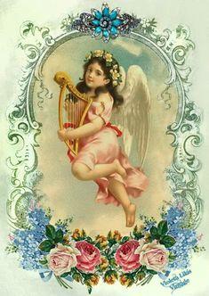 Violeta lilás Vintage: Linda imagem vintage com anjos e flores