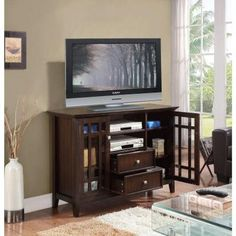 Simpli Home Bedford 53 in. W x 35 in. H Tall TV Stand in Tobacco Brown-3AXCBED-01 - The Home Depot