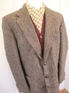 75c7dda67cd 44R L Harris Tweed Mens Jacket Grey Herringbone Wool Blazer Harris Tweed