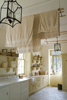 Drying racks pulled up & out the way. Love this idea!