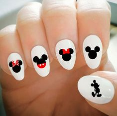Nail Decals, Mickey and Minnie Nail Decals, Water Transfer Nail Decals, Nail Tattoo, Fashionable Nai Ongles Mickey Mouse, Minnie Mouse Nails, Mickey Mouse Nails, Mickey Mouse Nail Design, Nail Art Disney, Disney Acrylic Nails, Cute Acrylic Nails, Disney World Nails, Disney Toe Nails