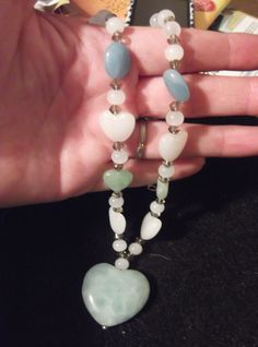 """14"""" choker   Light blue,green and white heart made of marble heart necklace   $13.00"""