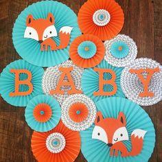Fox Themed Paper Rosettes, Fox Backdrop, Fox Baby Shower, Fox Birthday, Woodland Party by Idee Baby Shower, Boy Baby Shower Themes, Baby Shower Parties, Baby Boy Shower, Fox Baby Showers, Theme Bapteme, Fox Party, Baby Shower Desserts, Woodland Baby