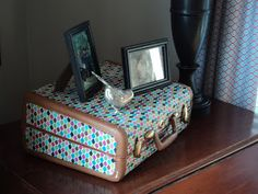 Modge Podge your old suitcases with fabric/ tutorial by Richmond Thrifter