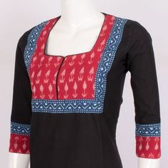 Buy online Hand Crafted Ikat Cotton Kurta With Block Prints & Sleeve 10014327 - Size M Chudi Neck Designs, Salwar Neck Designs, Churidar Designs, Kurta Neck Design, Dress Neck Designs, Blouse Designs, Neckline Designs, Salwar Pattern, Kurta Patterns