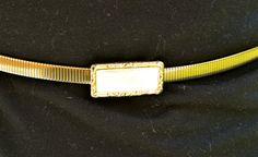 GOLD Metal Belt Totally Glamourous Vintage Metal Belt Gold Stretch Polished Gold Rectangular Belt Buckle