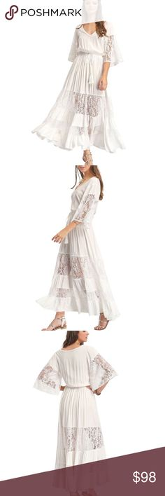NWT Boho Maxi Dress ➖NWT ➖SIZE: Small ➖STYLE: A Boho Chic white Maxi Dress. There are gorgeous lace panels in the skirt. ❌NO TRADE        328498 Floral Homecoming prom Dresses Maxi