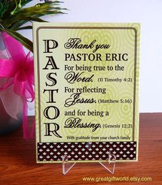 Items similar to Pastor Birthday Gift - Priest Gifts for Ordination - Personalized Anniversary Plaque on Etsy Pastor Appreciation Poems, Appreciation Cards, Volunteer Appreciation, Pastor Anniversary, Anniversary Logo, Anniversary Ideas, Gifts For Pastors, Staff Gifts, Retirement Cards