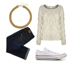 Jeans, sneakers & a sweater = the perf casual outfit for #fall #fashion #clothes