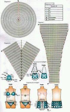 Motif Bikini Crochet, Tops A Crochet, Bikinis Crochet, Crochet Bra, Crochet Shorts, Crochet Woman, Irish Crochet, Crochet Stitches, Crochet Patterns