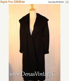 Sale 50% OFF Vintage 40's 50's Black Alpaca Wool Wynmar By Wyandotte Princess Coat Size M/L