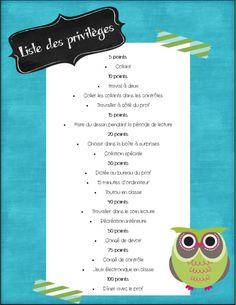 Ex liste privileges Classroom Displays, Classroom Organization, Classe Dojo, Classroom Management Techniques, Class Management, Kindergarten Behavior, Behavior Incentives, French Classroom, Teaching French