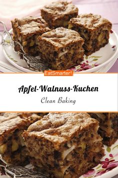 Clean Eating Apple Walnut Cake- Clean Eating Apfel-Walnuss-Kuchen Do you eat according to the clean eating principle? Then this apple and walnut cake is just right for you! Healthy Juice Recipes, Healthy Dessert Recipes, Easy Desserts, Baking Recipes, Soup Recipes, Dessert Simple, Bon Dessert, Clean Eating Soup, Clean Eating Desserts