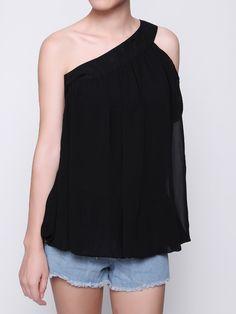 Sale 22% (15.54$) - Sexy Women One Shoulder Sheer Fashion Chiffon Short Sleeve Tank Top