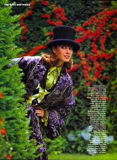 Top Hats and Wales: Christy Turlington by Arthur Elgort for US Vogue