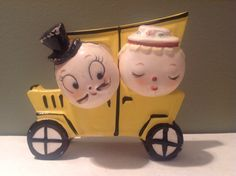 This is a vintage Davar Salt and Pepper shaker set that is also a napkin holder. Each head is the salt and pepper