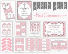 First Communion Invitation with Party Decor by PuggyPrints on Etsy, $30.00