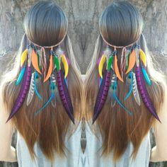 Rainbow feather headbands.  Made with Love   Find it at : WWW. DIESELBOUTIQUE. ETSY. COM #Boho #forest #rainbow #Featherheadband #Headband #pocahontas #freespirit #coachella #birdofparadise #festivalfashion #gypsylife #gypsy #bohemian #bohochic #tribal #festival #bohemia #boholuxe #gypsysoul #wanderlust #bohoblog #carnaval #goodvibes #highsociety #hippiestyle #gypset #hipster #hippie