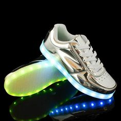 2017 The new USB rechargeable lights up LED neon shoes gold silver luminous casual shoes forUnisex men for adult shoes chaussure Glow Shoes, Neon Sneakers, Canvas Sneakers, Shoes 2015, Light Up Shoes, Silver Shoes, Shoe Brands, Shoes Online, Casual Shoes