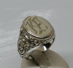 """Vintage Ringe - 925er Silber Siegelring mit Initialien """"KA"""" SR614 - ein Designerstück von Atelier-Regina bei DaWanda"""
