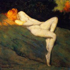 "goodolarthistory: "" Artist: Warren B. Davis Title: Sleeping Nude Date: 1915 """