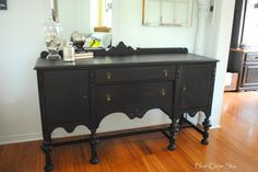 vintage sideboard buffet #generalfinishes #milkpaint Lamp Black via Blue Clear Sky