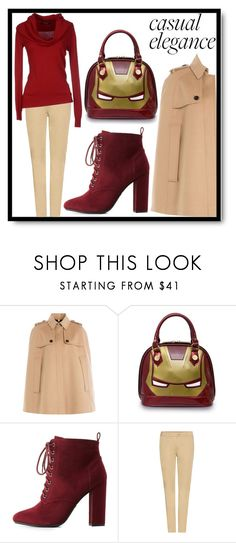 """I got iron man on my bag, swag!"" by bethany-whisper ❤ liked on Polyvore featuring Burberry, Loungefly, Charlotte Russe, Tomas Maier, marvel, ironman and loungefly"