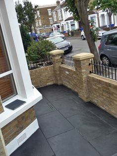 Dulwich And East Dulwich Victorian Black And White Mosaic Tile Path London Stock Brick Garden Wall Rails And Gate (7)