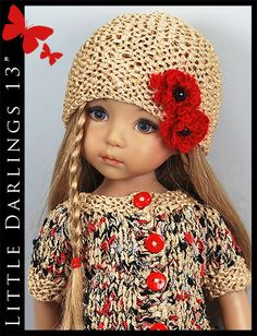 """Beige, Red & Black Outfit for Little Darlings Effner 13"""" by Maggie & Kate Create"""
