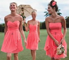 Cheap A-line Coral Knee Length Chiffon Bridesmaid Dresses, short bridesmaid dress, Short Coral Prom Dresses, wedding party dresses