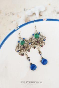 "Handmade earrings. Fair Masters - handmade Earrings ""EMERALD NIGHTS IN THE GARDEN OF EAST PALACE."" Handmade."