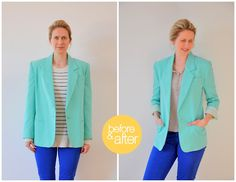 CUSTOM TAILOR A BLAZER – IN DETAIL.  How to refashion a blazer found at a thrift store.
