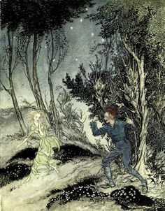 "Peer follows the woman in green. ""Peer Gynt"" (1936) illustrated by Arthur Rackham"