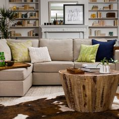 Love this layout and sectional.   Chaise Sectional with Tan Slub Tweed Covers