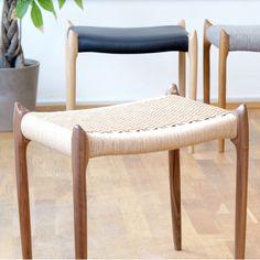 Model 78A Stool by Niels Otto Møller for J.L. Moller. Teak Oil, Black Weave, Wishbone Chair, Danish Modern, Vanity Bench, Stool, Dining Chairs, Model, Furniture