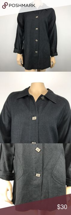 """J. Jill Linen Blend Lightweight Jacket Women's size medium black J. Jill long sleeve, button down lightweight jacket. 68% linen, 11% cotton, 9% rayon, 7% nylon, 3% angora, 2% cashmere.   Measurements (flat lay):  Armpit to armpit – 24"""" Length – 32""""  Comes from a smoke free home!   Pre-owned. In good condition. No rips, tears, holes or stains. J. Jill Jackets & Coats"""