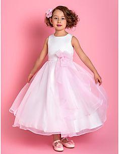Aラインスパゲッティストラップ足首までの長さのオーガンザ、サテンのフラワーガールのドレス(733946) – JPY ¥ 7,833