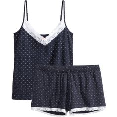 H&M+ Jersey pyjamas ($10) ❤ liked on Polyvore featuring intimates, sleepwear, pajamas, pyjama, comfort, dark blue, plus size, plus size sleepwear, plus size pajamas and plus size sleep wear