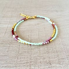 Double Multicolor Mint Bracelet // Mint Green, Chocolate, Gold & Mauve // Multicolor Boho Friendship Bracelet by Kurafuchi on Etsy https://www.etsy.com/listing/193757299/double-multicolor-mint-bracelet-mint