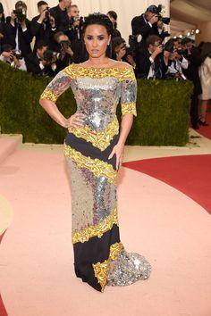 Demi Lovato in a Moschino dress and Harry Kotlar jewelry
