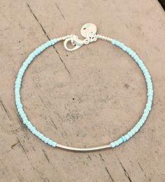 Dainty Baby Blue Seed Bead Bracelet