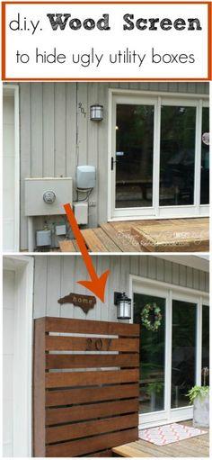 Remodelaholic   DIY Wood Screen to Hide Utility Boxes