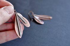 Abstract Leaf Earrings Minimal Botanical Earrings by ErinAustin, $45.00