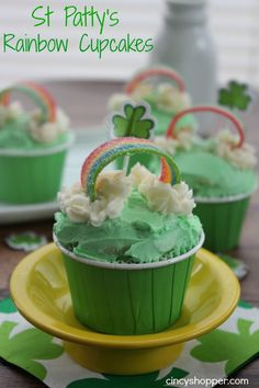 St Patrick's Rainbow Cupcakes with Poke Lime Jell-O-. the kiddos loved the Air heads Extremes.