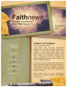 Spiritual Growth Church Newsletter Template  Page   Ministries