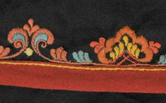 FolkCostume&Embroidery: Costume and 'Rosemaling' Embroidery of West Telemark, Norway Folk Embroidery, Embroidery Stitches, Embroidery Designs, Scandinavian Embroidery, Folk Fashion, Norway, Folk Art, Floral Design, Museum