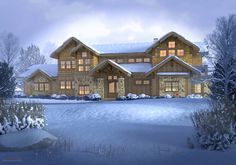 Preble Residence - Rendering - Mountain Craftsman Style - MQ Architecture & Design, LLC - © Barcelow3D - www.barcelow.com